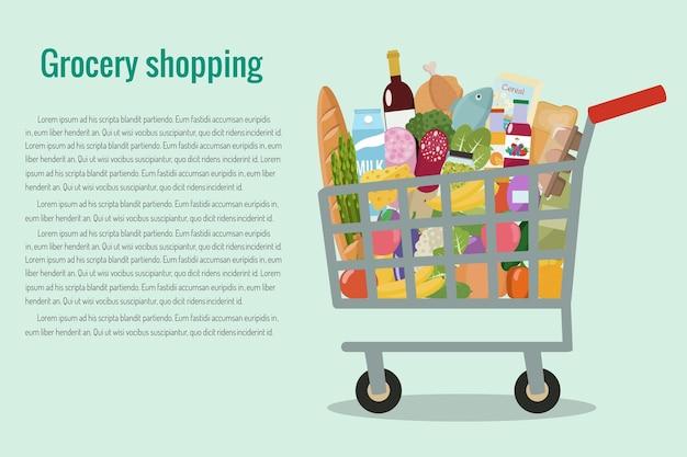 買い物かごに入った食料品。平らな。