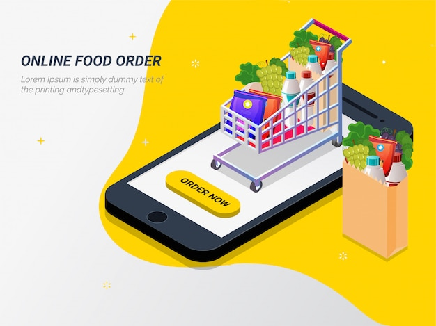 スマートフォンでアプリからオンラインで食料品を購入する。