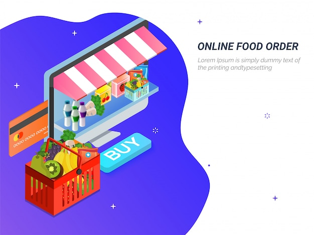 Grocery online from website by computer.