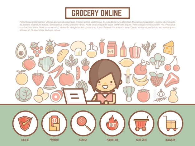 Grocery online shopping banner background