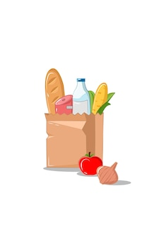 Grocery paper bags vector illustration