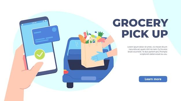 식료품 픽업. 매장에서 안전하게 쇼핑하고, 온라인으로 주문하고, 차에서 내리지 않고 길가에서 픽업하세요. 손 전화 주문 음식 벡터 개념입니다. 일러스트 서비스 픽업 쇼핑 어플리케이션, 온라인 주문