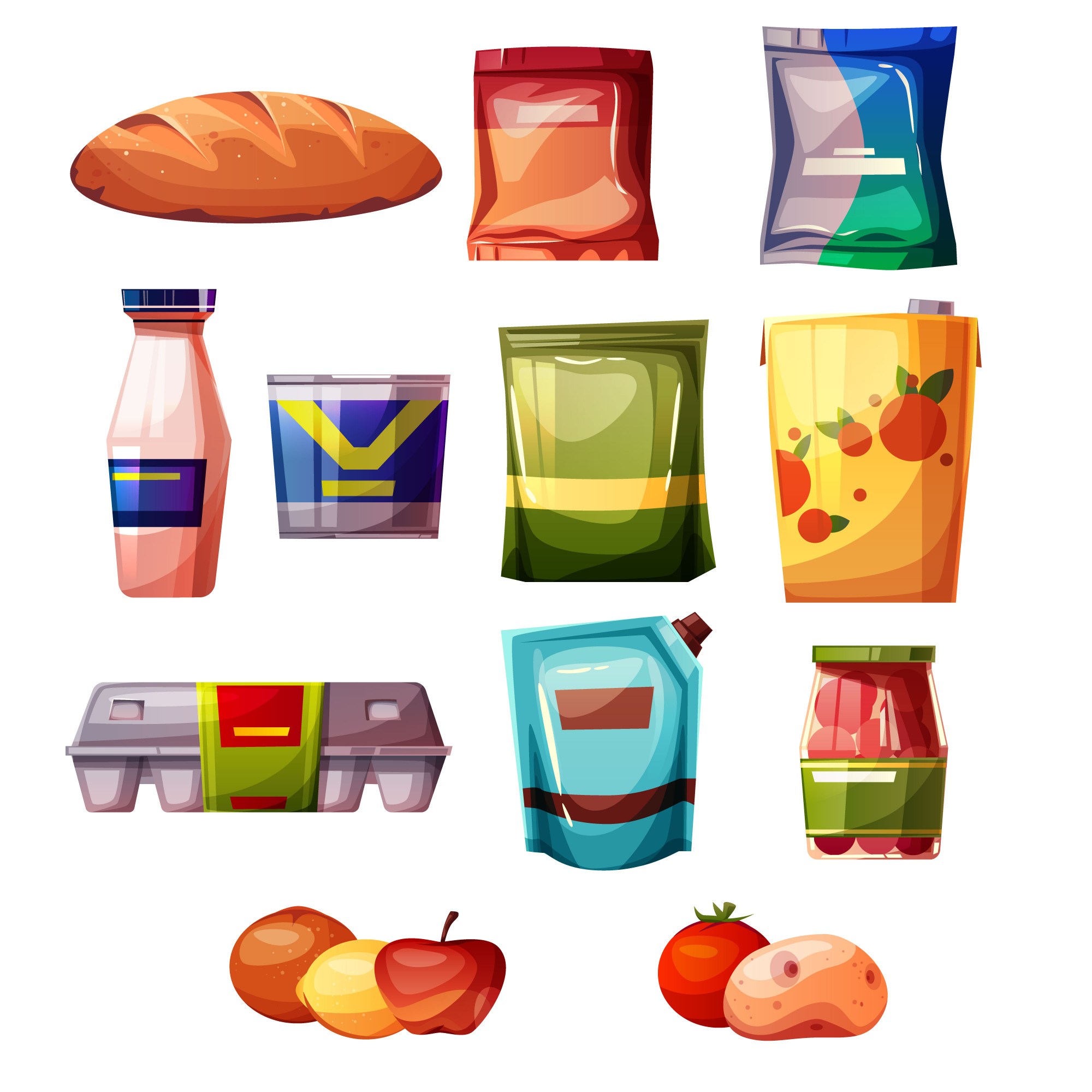 Grocery products from supermarket or store illustration.