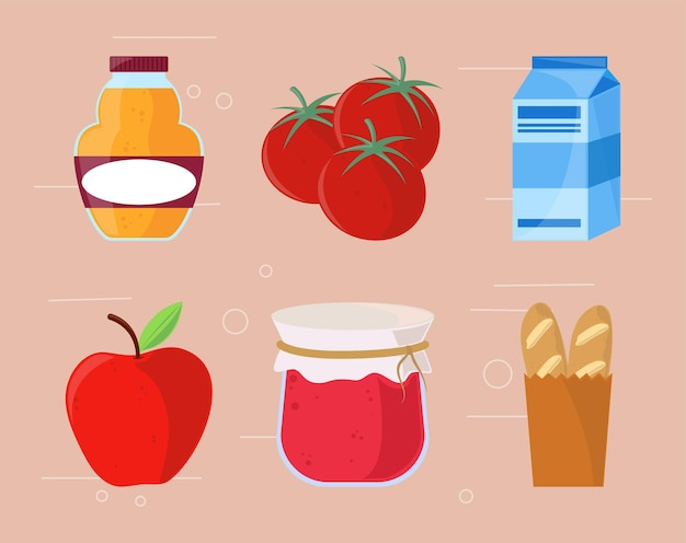 Grocery products icons