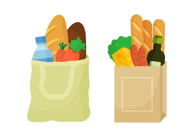 식료품 구매 세트. 제품과 함께 섬유 가방 및 종이 패키지. 음식과 음료, 야채와 과일.