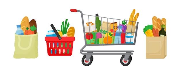 食料品購入セット。テキスタイルバッグ、ホッピングバスケットとトロリー、製品が入った紙のパッケージ。食べ物や飲み物、野菜や果物。図