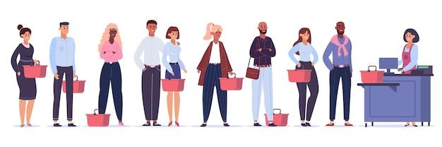 食料品のキュー。店頭で買い物をするキャラクター、並んで買うのを待っている群衆、食料品店のレジのキューイラスト。店舗サービスカウンターのキャラクター、列の人々の顧客
