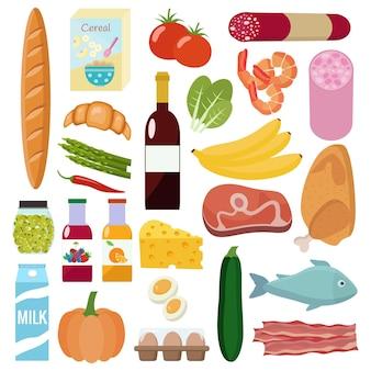 食料品セット。牛乳、野菜、肉、鶏肉、チーズ、ソーセージ、ワイン、果物、魚、シリアル、ジュース。 Premiumベクター