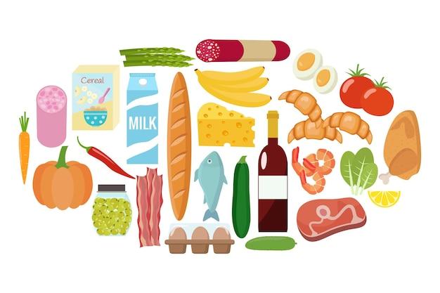 食料品セット。牛乳、野菜、肉、鶏肉、チーズ、ソーセージ、ワイン、果物、魚、シリアル、ジュース。