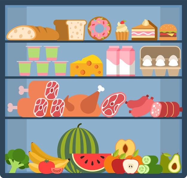 Grocery shelves. food store assortment on refrigerator showcase, fruits and vegetables, fresh milk and meat products, bread and pastries in shelf, purchases in supermarket flat vector illustration