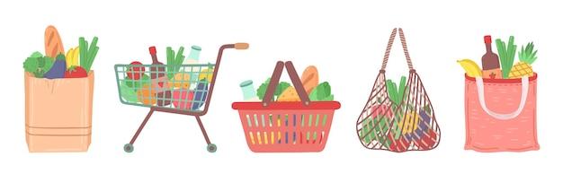 食料品店のバッグ。ショッピングフードカート、スーパーマーケットからの配達パッケージ。野菜の果物のベクトル図と自然商品のマーケットバスケット。トロリーとカートがいっぱいになり配達