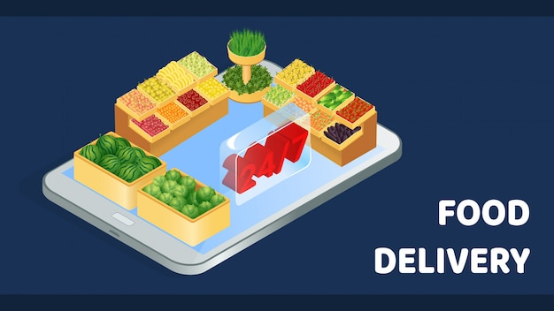 Grocery shop delivery isometric banner template