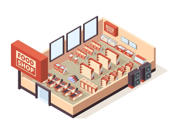 Grocery shop interior. supermarket indoor furniture checkout tables shelves products shopping carts