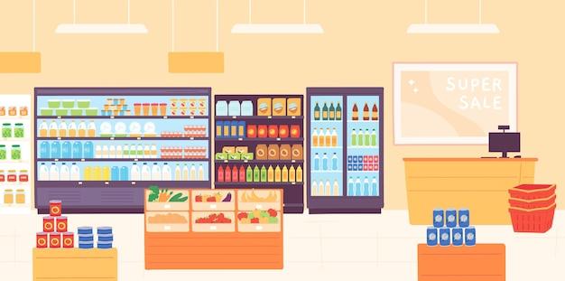 Интерьер продуктового магазина. супермаркет с полками для продуктов, стеллажи с молочными продуктами, фруктами, холодильником с напитками и кассой. векторный концепт магазина. интерьер магазина иллюстрации полки, стойка продукта супермаркета