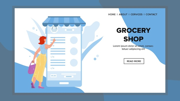 Grocery shop mobile application use buyer vector. woman choosing food and drink in internet grocery shop phone app. character smartphone market store program web flat cartoon illustration