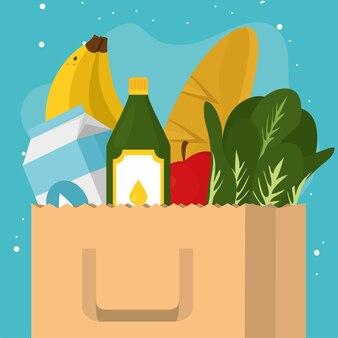 青い背景に食品アイコンが設定された食料品の買い物袋