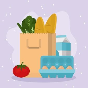 紫色の背景に食品のシンボルを設定した食料品の買い物袋