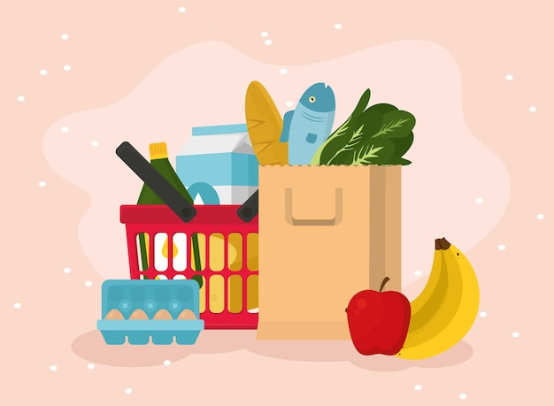 Grocery shopping basket and bag with food icon set