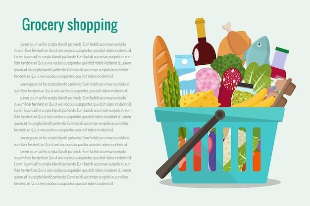 Grocery in a shopping basket.  flat.