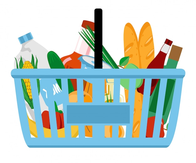 Grocery in a shopping basket.  illustration.  .