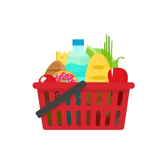 Grocery shopping basket vector illustration flat cartoon