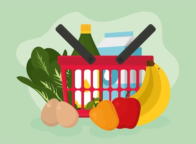 緑の背景に食品アイコンコレクションと食料品の買い物かご