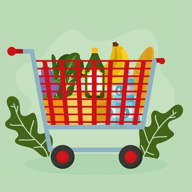 緑の背景に食品アイコンが設定された食料品の買い物かご