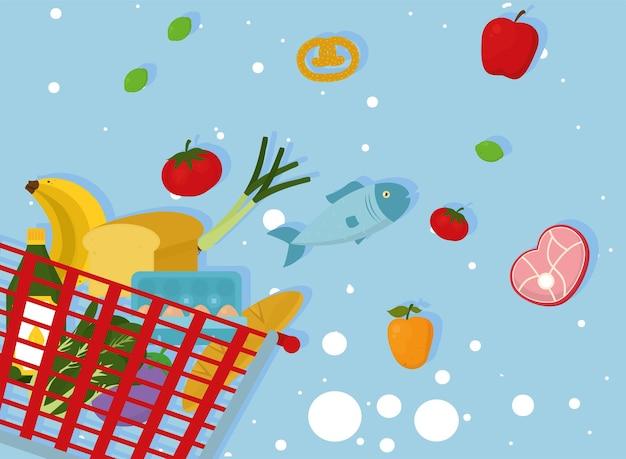 青い背景に食品シンボルコレクションと食料品の買い物かご