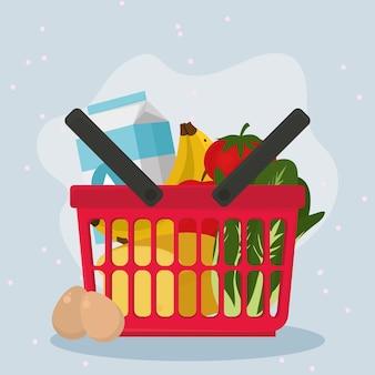 紫色の背景に食品のシンボルを設定した食料品の買い物かご