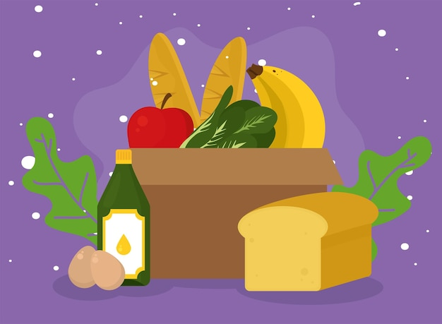 紫色の背景に食品アイコンコレクションと食料品のショッピングボックス