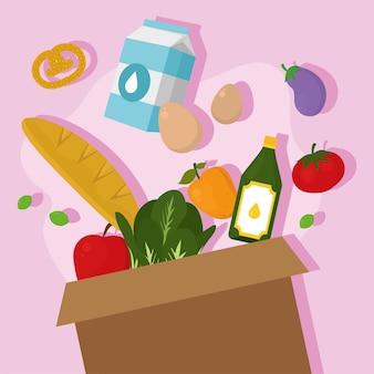 ピンクの背景に食品アイコンが設定された食料品の買い物箱