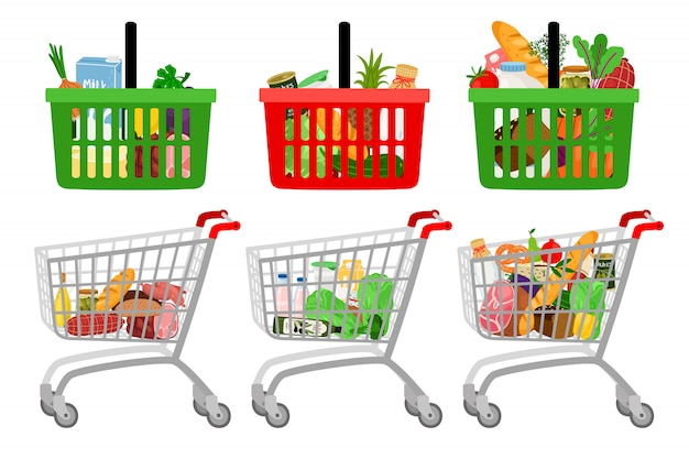 Grocery shopping cart and basket