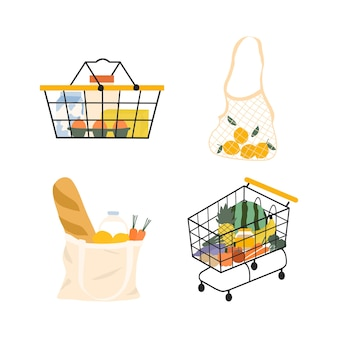 食料品のショッピングカート。スーパーマーケットのフードバスケット、メッシュ、エコキャンバストートバッグのイラスト要素