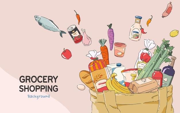 식료품 쇼핑 개념 배경입니다. 다양한 종류의 식료품을 담은 쇼핑백. 만화 스타일 그림.
