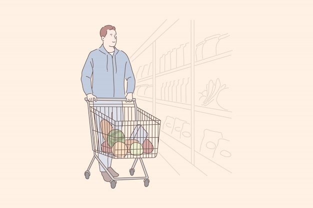 Grocery shopping, department store, commerce concept