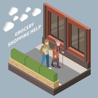 Grocery shopping help for elderly people isometric illustration