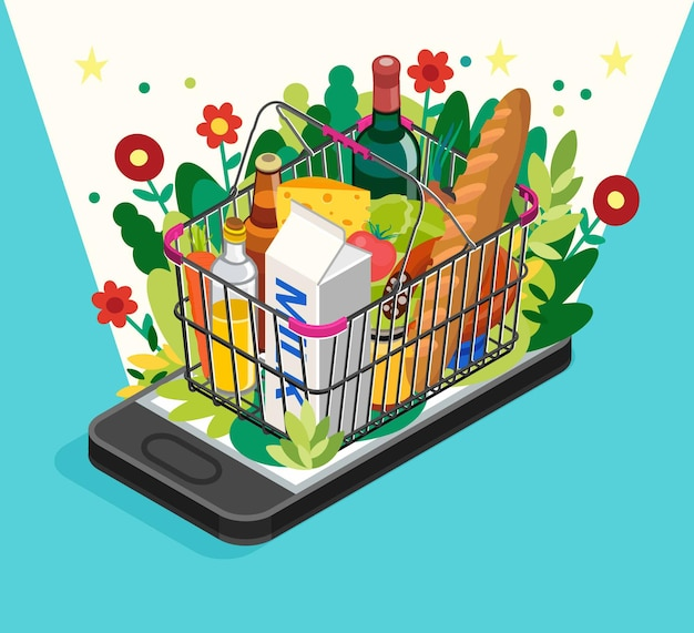 Grocery shopping online concept.