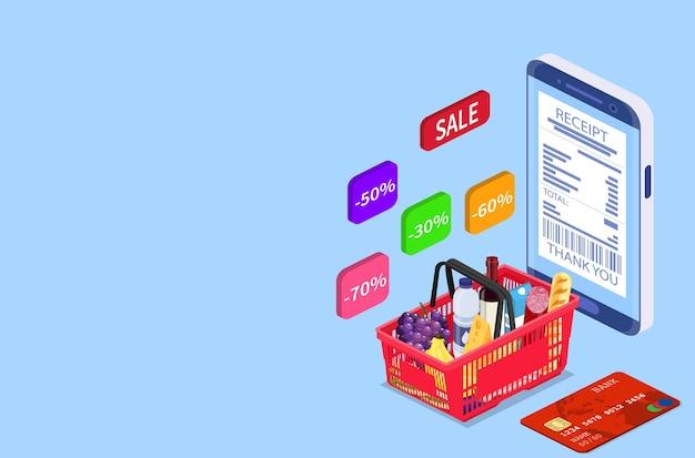 식료품 쇼핑 온라인 아이소메트릭 개념입니다. 웹 배너, 인포그래픽에 사용할 수 있습니다. 평면 스타일의 벡터 일러스트 레이 션