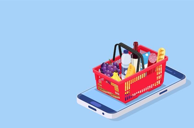 Изометрические концепции продуктовых магазинов онлайн. можно использовать для веб-баннера, инфографики. векторная иллюстрация в плоском стиле