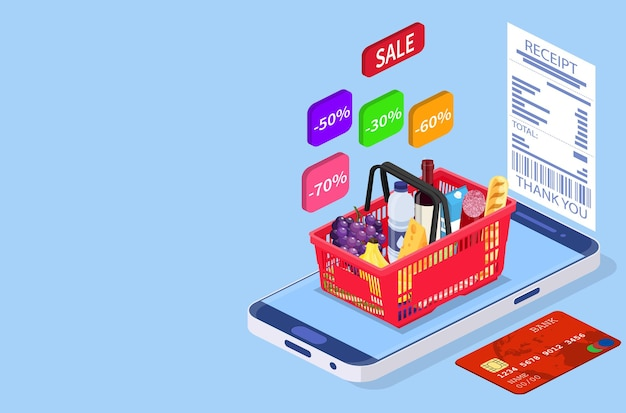 Grocery shopping online isometric concept.