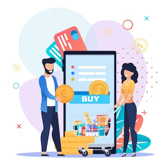 Grocery shopping online on mobile application