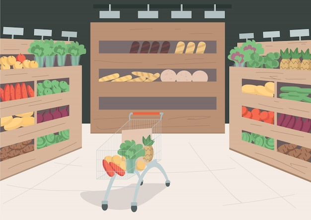 Grocery store  color  illustration. variety of foods and goods on shelves in shop. trolley cart with veggies and fruits inside. supermarket  cartoon interior with decor on background