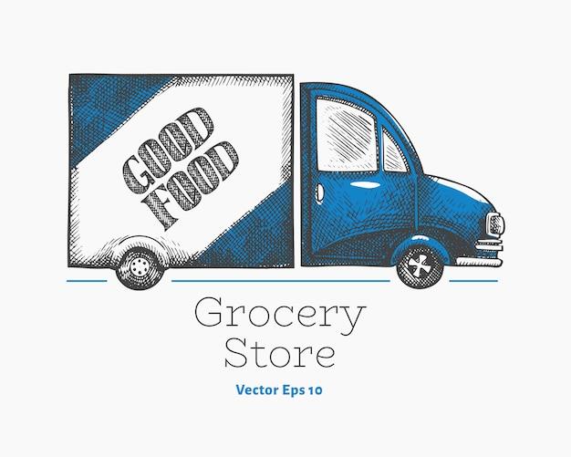 Шаблон логотипа доставки продуктовый магазин. Premium векторы