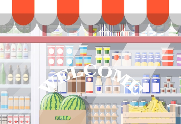Grocery store front window. retail facade with awning. glass showcase of boutique. european style shop exterior. commercial, property, mall, market or supermarket. flat vector illustration