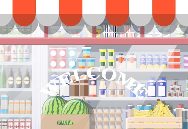 食料品店のフロントウィンドウ。日除け付きの小売ファサード。ブティックのガラスショーケース。ヨーロピアンスタイルのお店の外観。商業、不動産、モール、市場またはスーパーマーケット。フラットベクトルイラスト