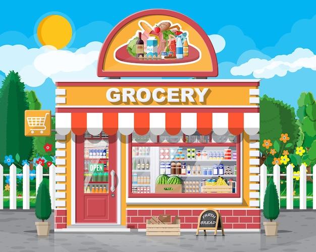 窓とドアのある食料品店の正面。木製とレンガのファサード。ブティックのガラスショーケース。小さなヨーロピアンスタイルのショップの外観。商業、不動産、市場またはスーパーマーケット。フラットベクトル図