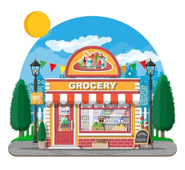 窓とドアのある食料品店の正面。木製とレンガのファサード。ブティックのガラスショーケース。小さなヨーロピアンスタイルのショップの外観。商業、不動産、市場またはスーパーマーケット。フラットベクトルイラスト