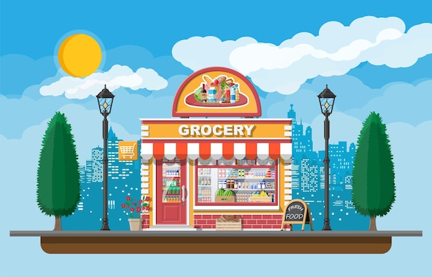 Grocery store front with window and door.