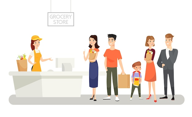 Grocery store   illustration people waiting in long queue products buying food shopping