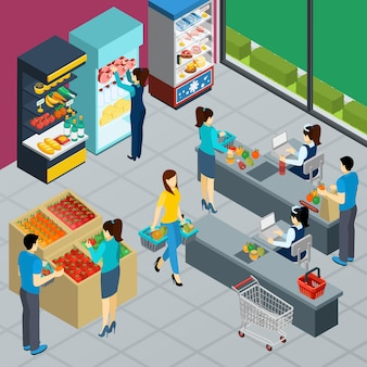 Grocery store isometric poster